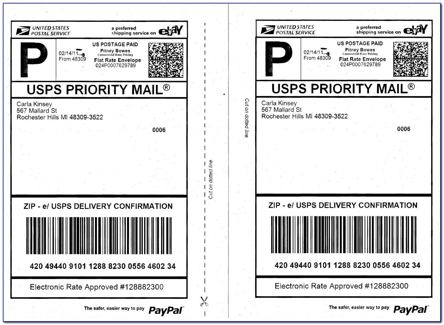Usps Package Label Template