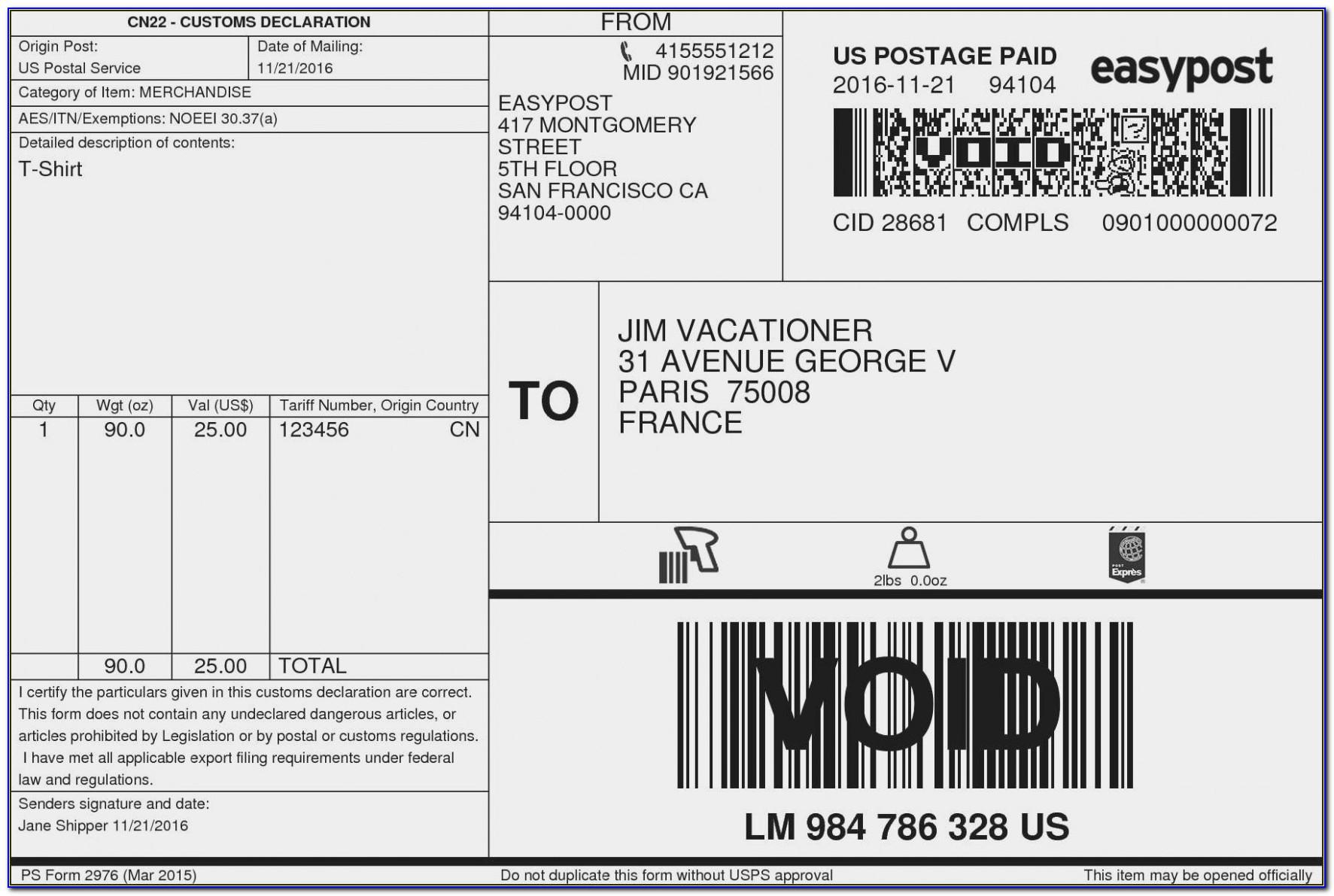 Usps Priority Mail Label Template