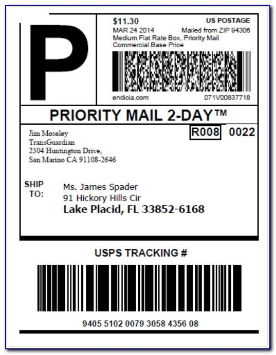 Usps Priority Mail Label Word Template