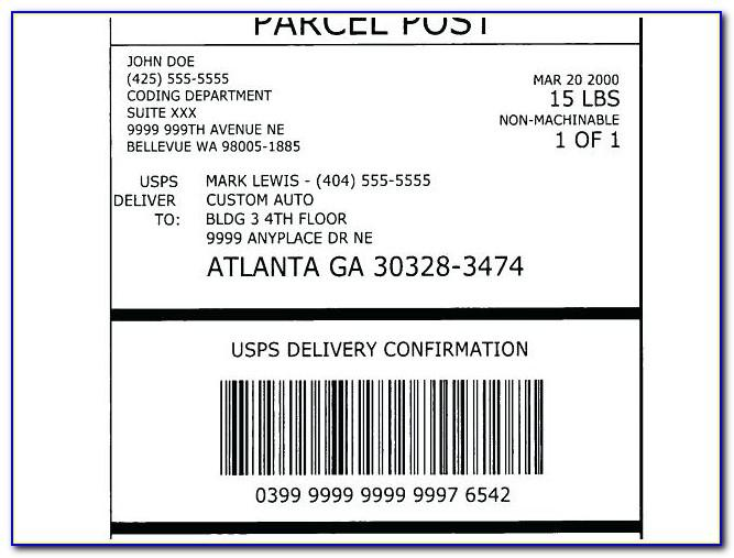 Usps Priority Mailing Label Template