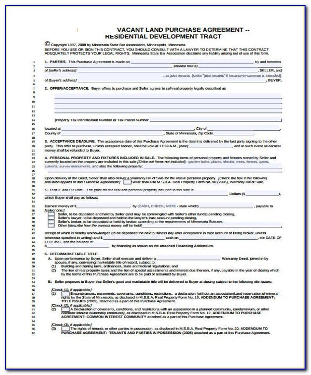 Vacant Land Purchase Agreement Form