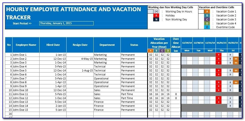 Vacation And Sick Time Tracking Template Free