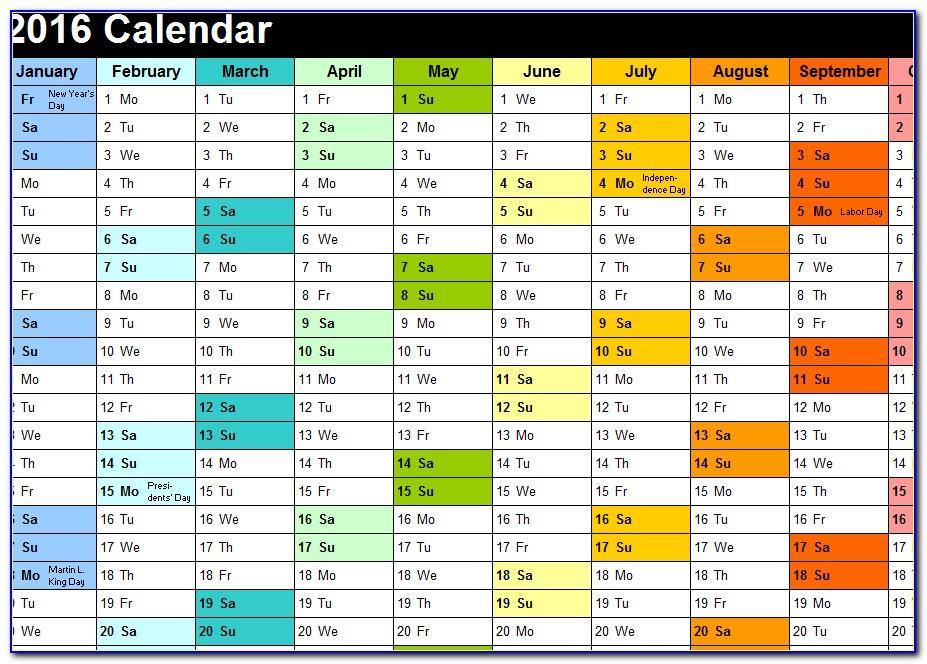 Vacation Calendar Excel Template 2018