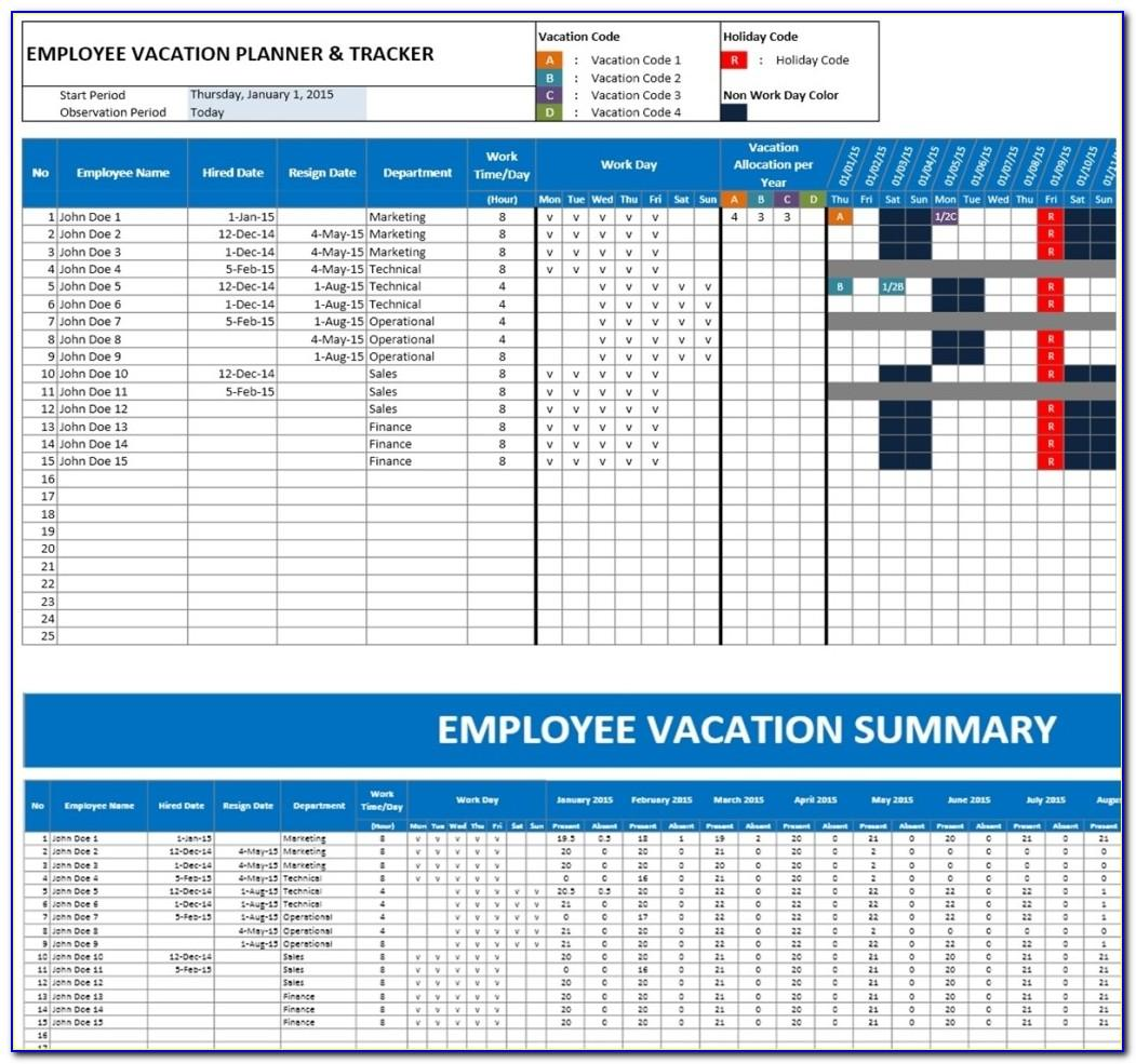Vacation Calendar Template Excel 2015
