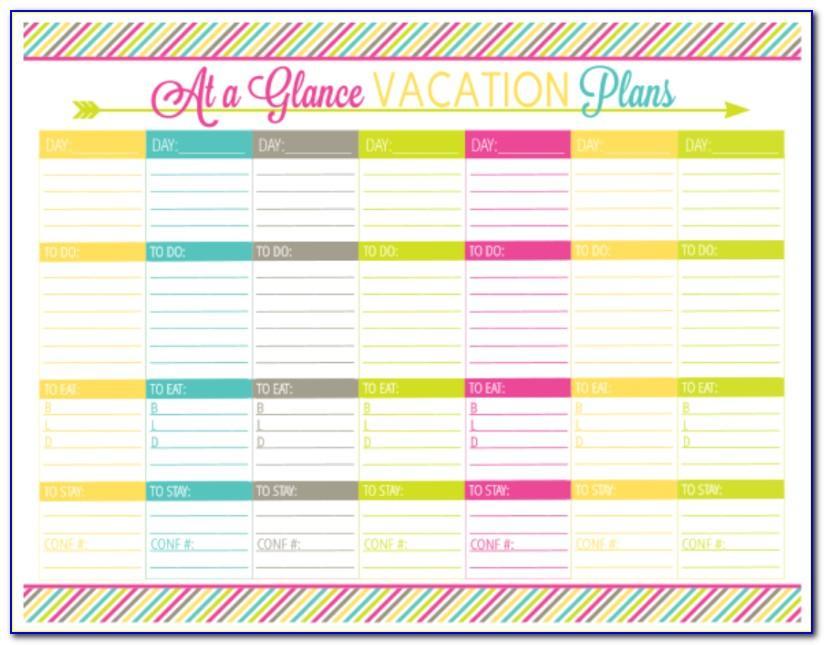 Vacation Planning Calendar Template