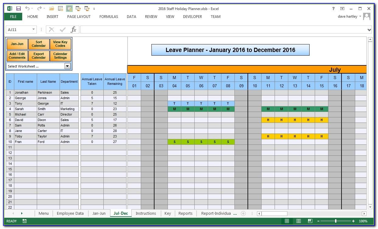 Vacation Template Excel 2015
