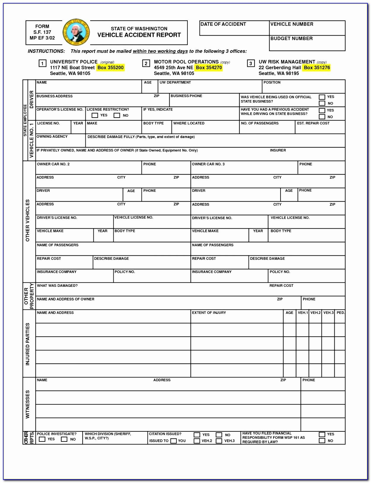 Vehicle Accident Report Form Pdf