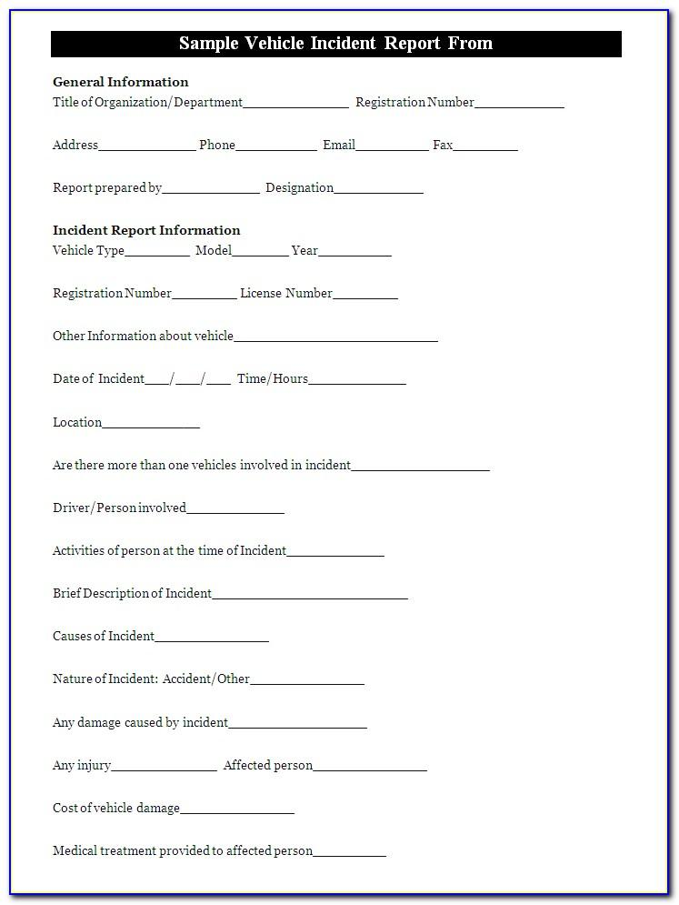 Vehicle Incident Report Template Word