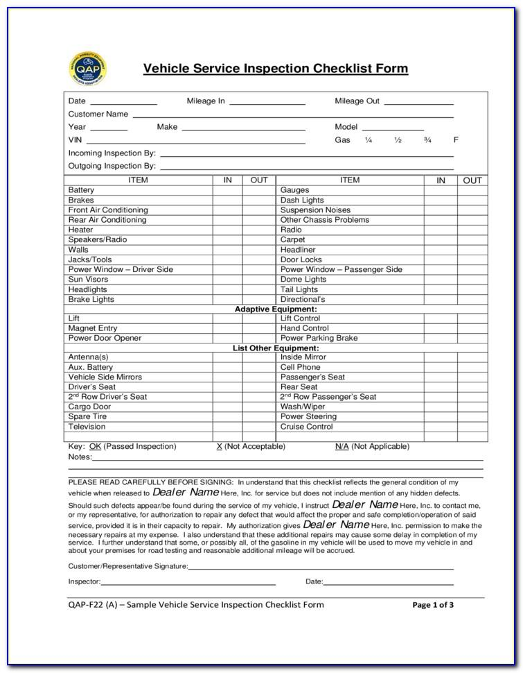 Vehicle Inspection Checklist Form Free Download