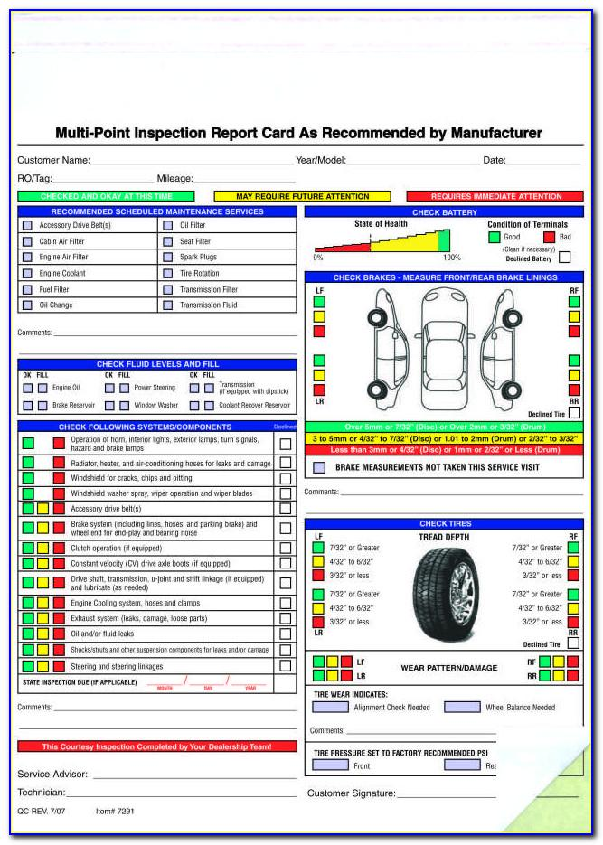 Vehicle Inspection Checklist Template
