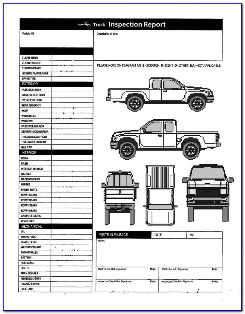 Vehicle Inspection Report Form Free