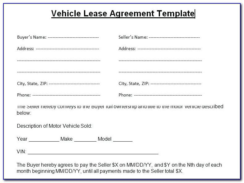 Vehicle Lease Agreement Template Alberta