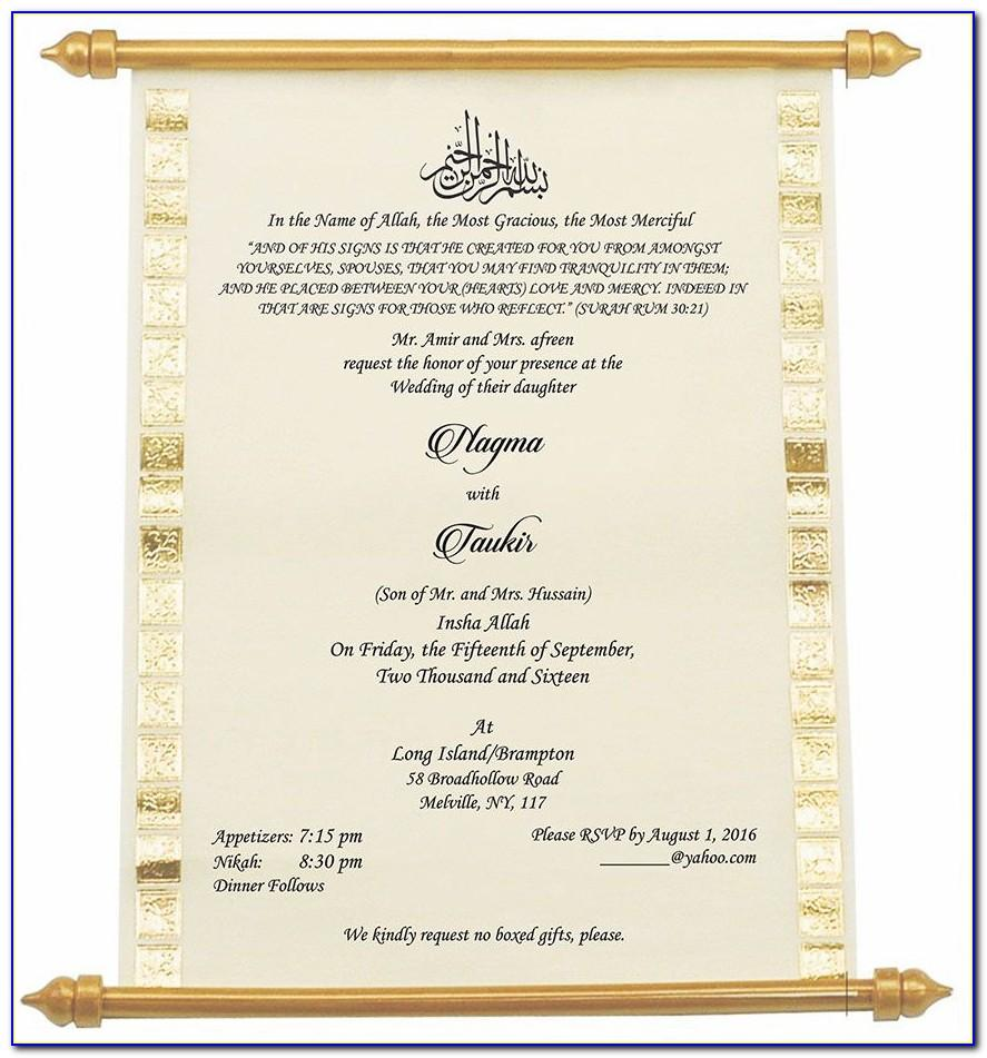 Wording Templates For Muslim Wedding Invitations