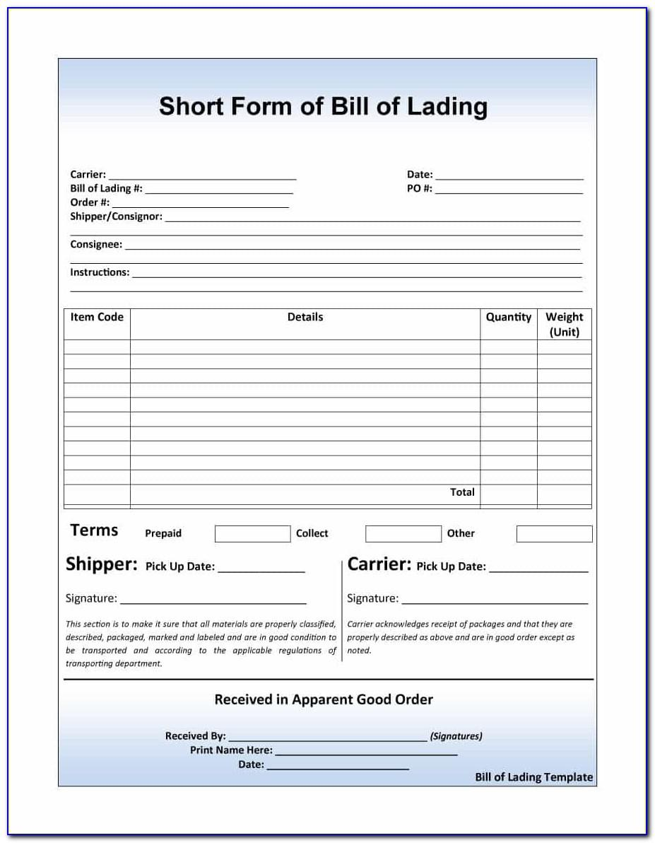 Yrc Freight Bill Of Lading Form