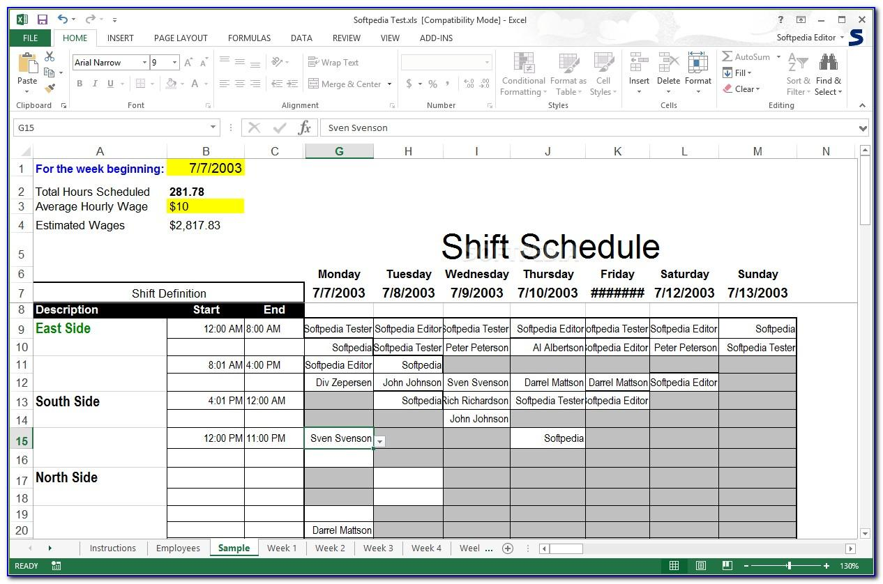 12 Hour Shift Rotation Schedule Template