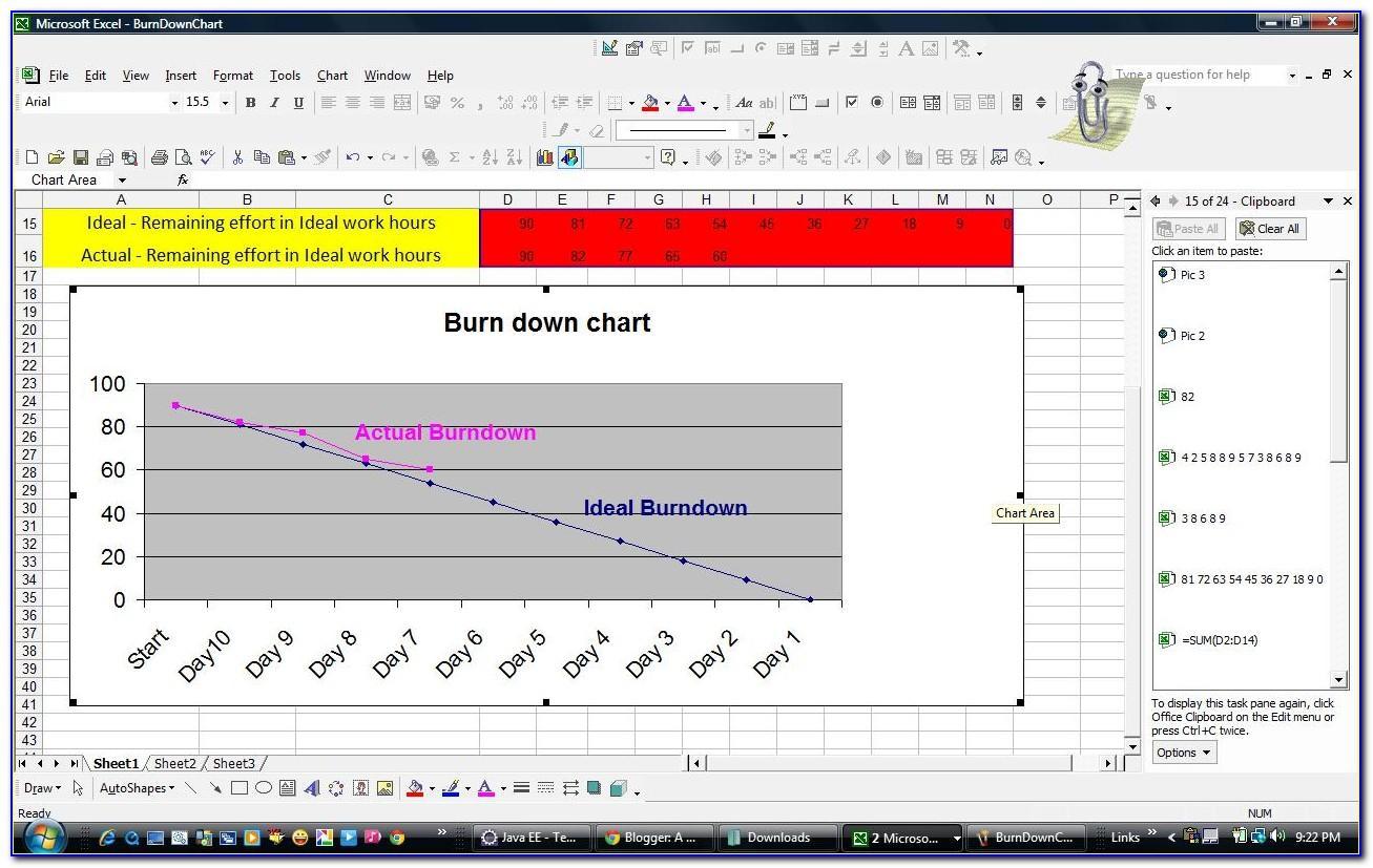 Agile Scrum Burndown Chart Excel Template