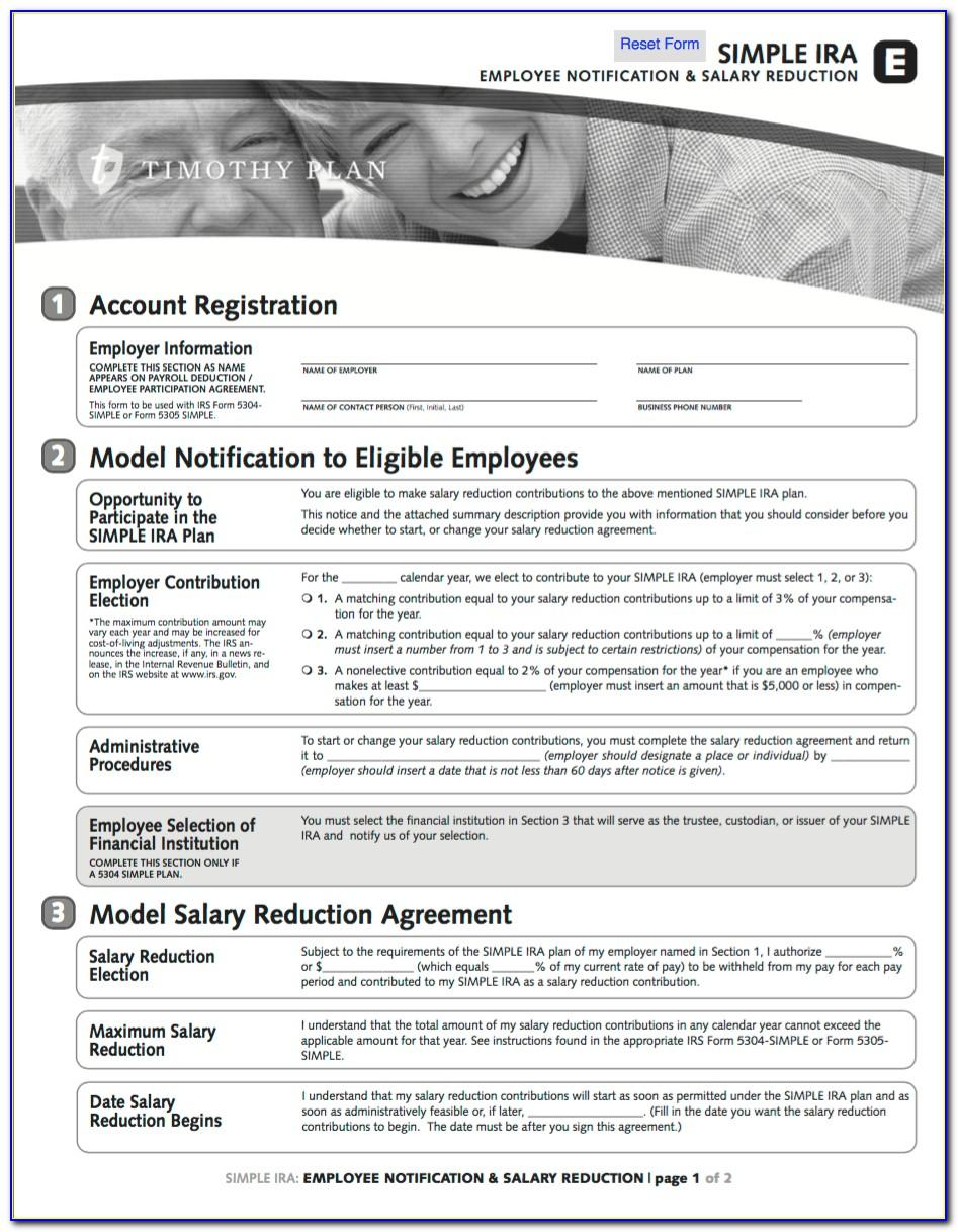 American Funds Simple Ira Salary Reduction Agreement Form