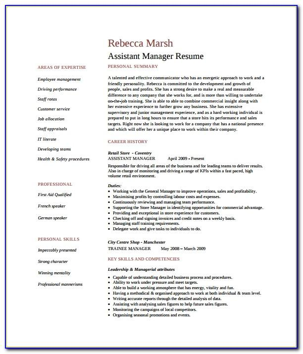 Assistant Store Manager Resume Format