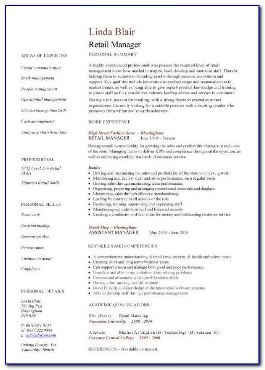Assistant Store Manager Resume Templates