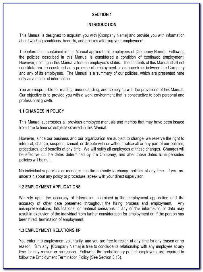 Business Operations Manual Template Company Procedure Example Free Safety Small