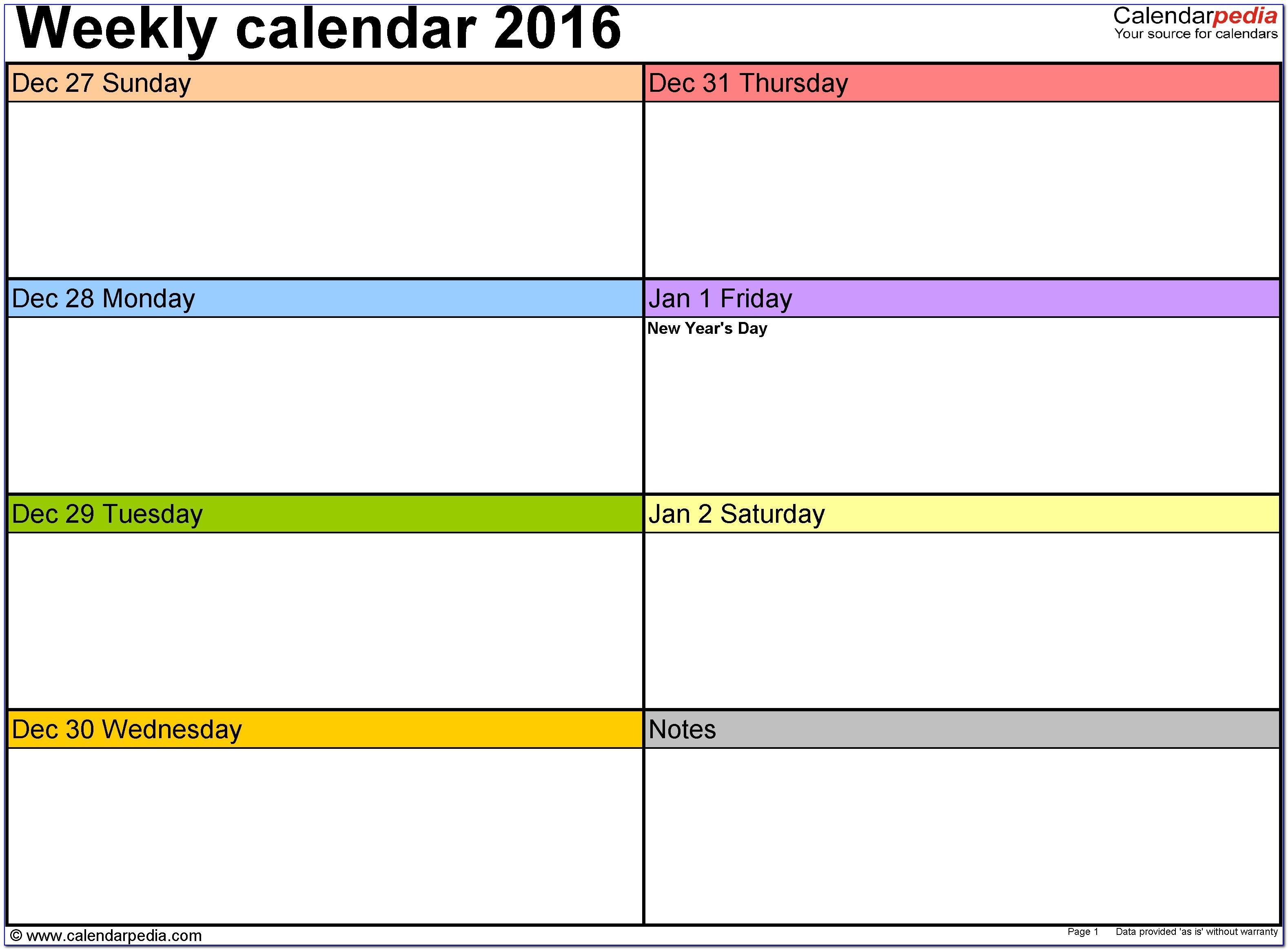 Calendar Planner Template Excel