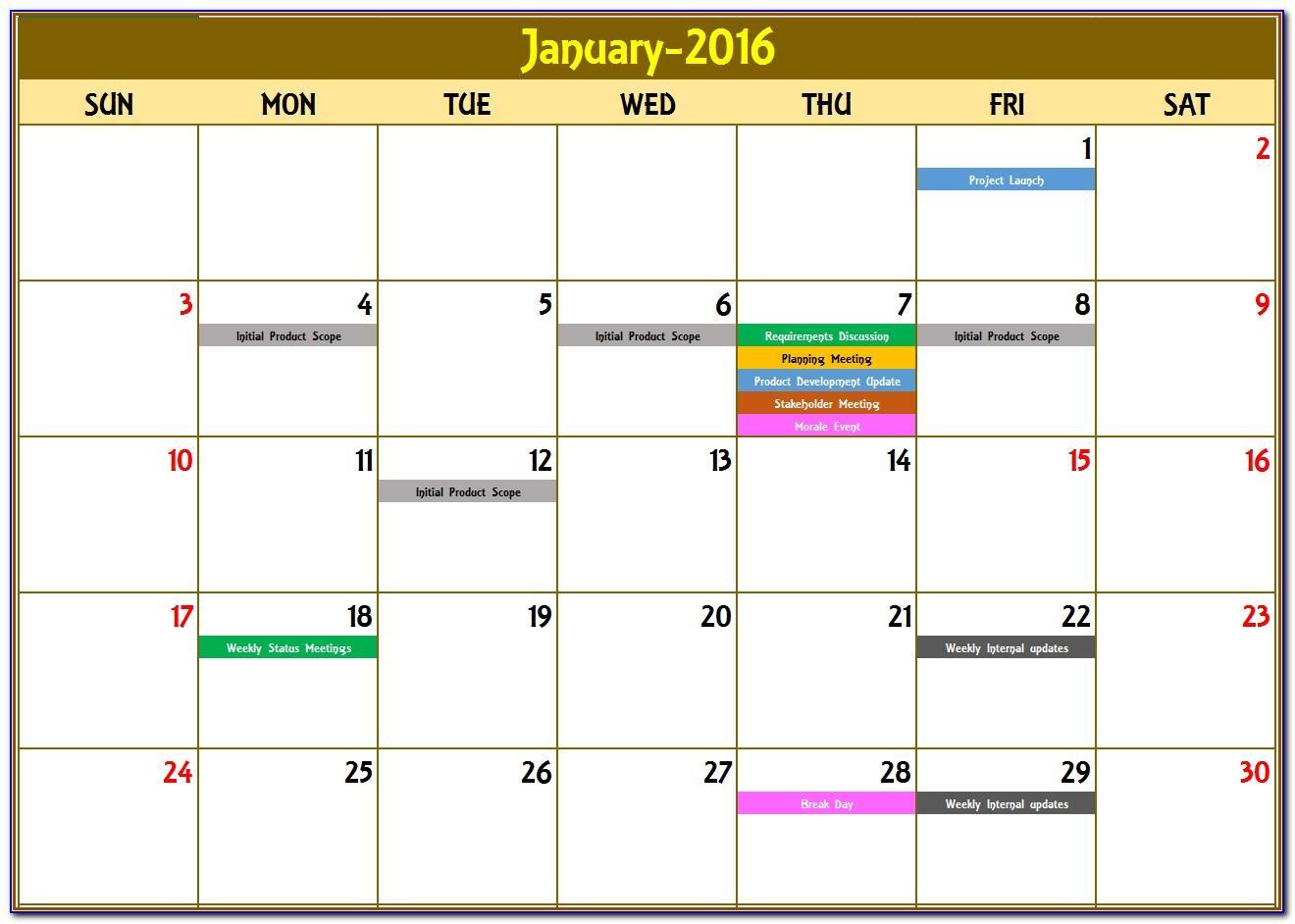 Calendar Schedule Template 2017