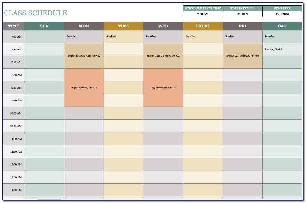 Calendar Template Excel Weekly