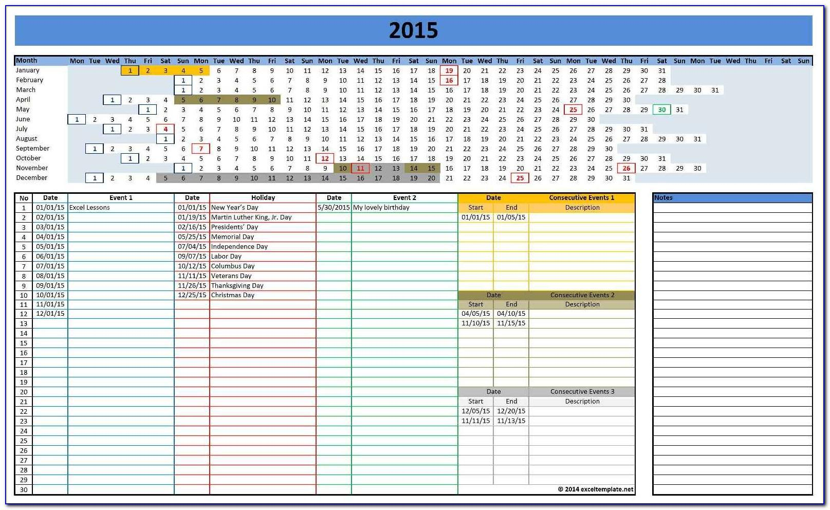 Calendar Template For Microsoft Excel