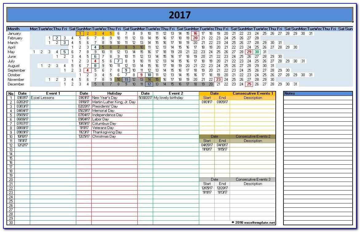 Calendar Template For Ms Excel