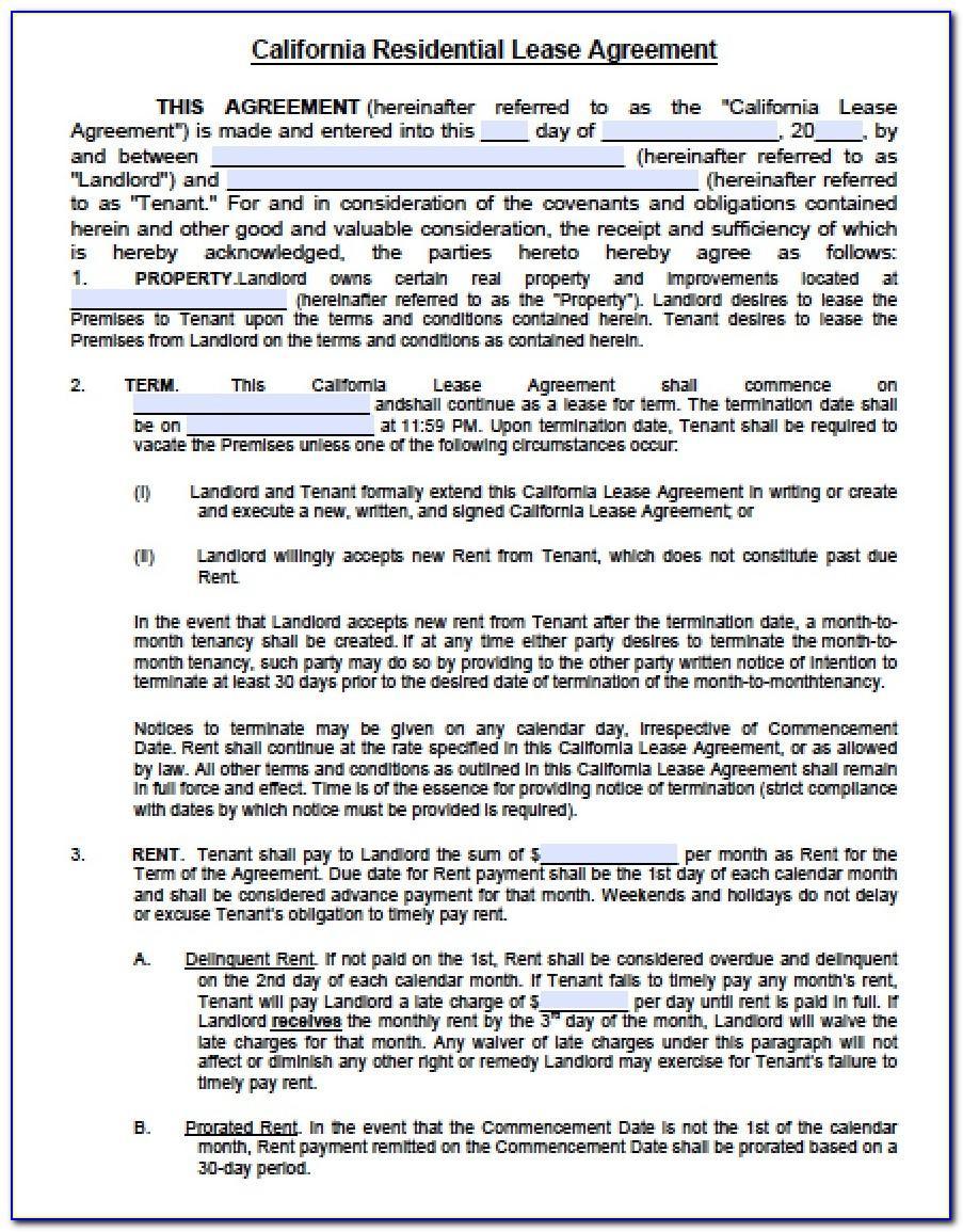 California Standard Lease Agreement Form