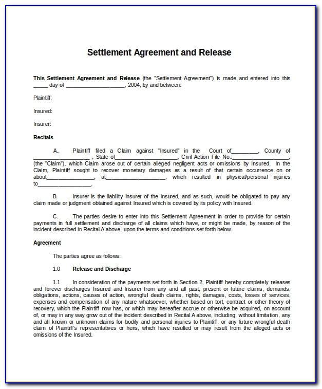 Car Accident Settlement Agreement Letter Template
