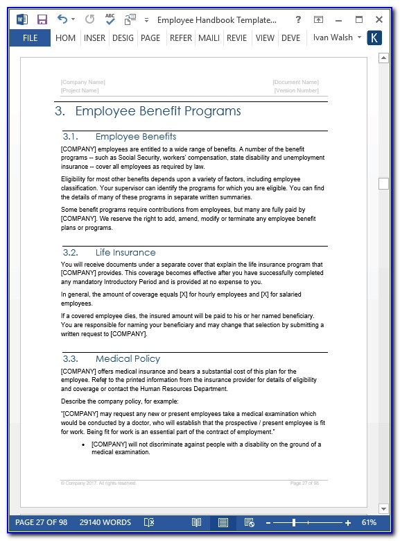Childcare Staff Handbook Template