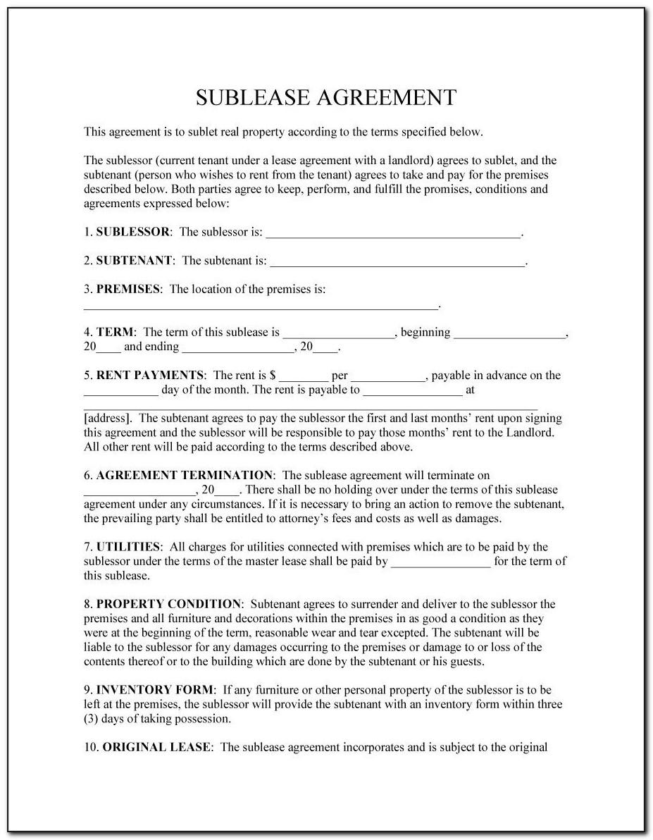 Commercial Sublease Agreement Template Ontario