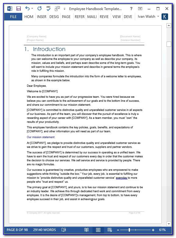 Company Handbook Template Word