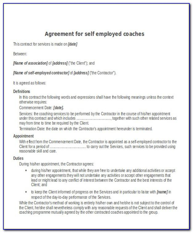 Contract For Services Self Employed Free Template