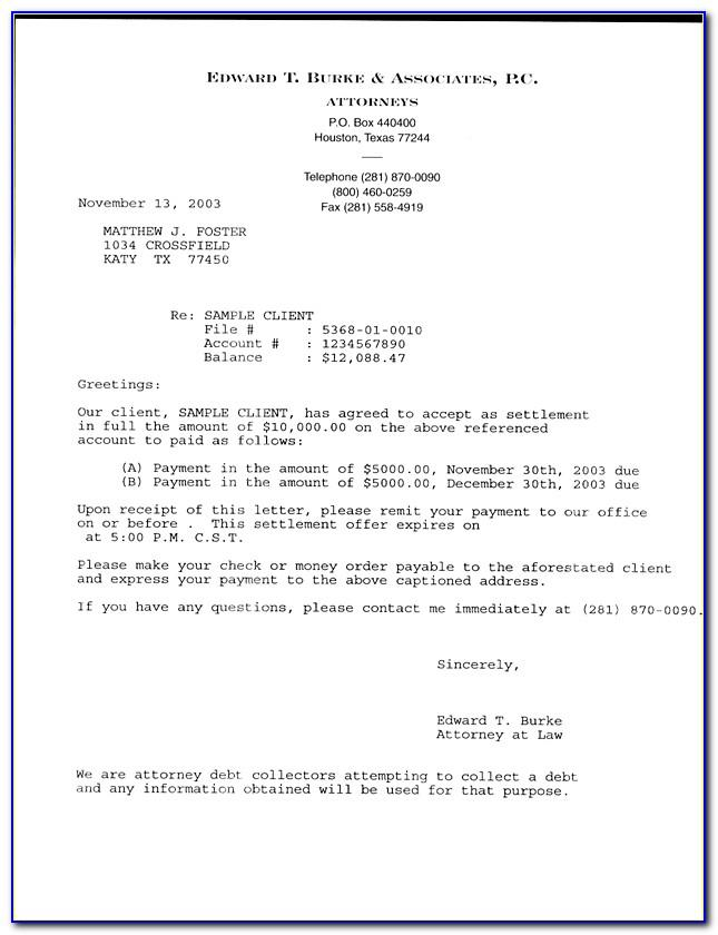 Counter Offer Settlement Letter Template