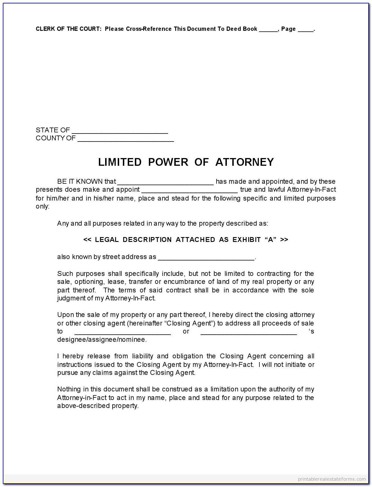 Customs Power Of Attorney Form Example
