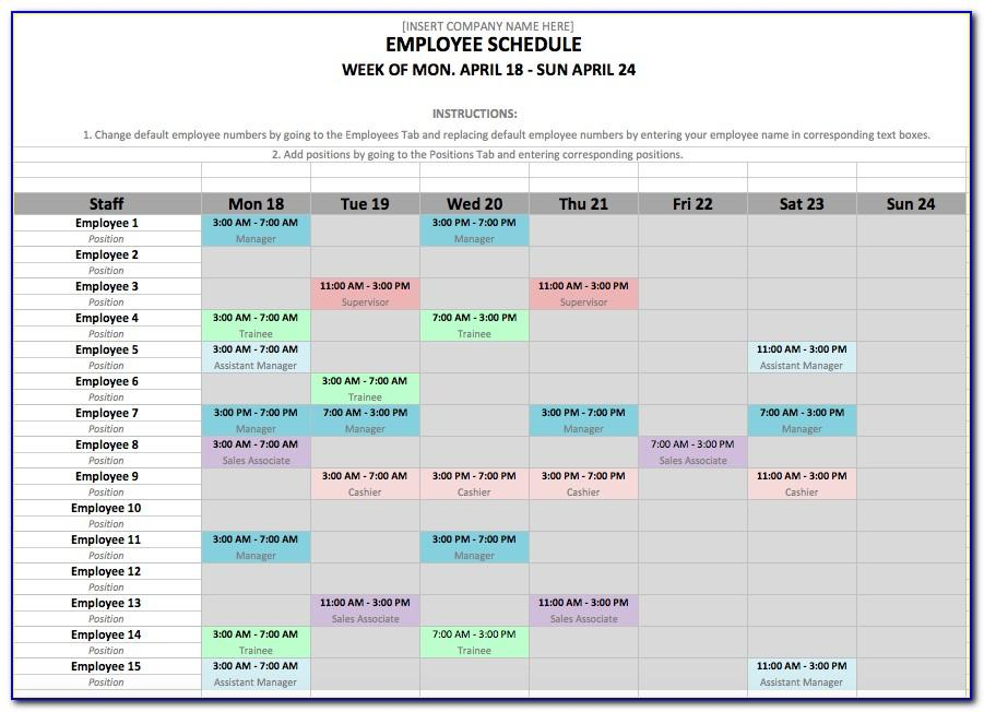 Daily Work Schedule Templates Free
