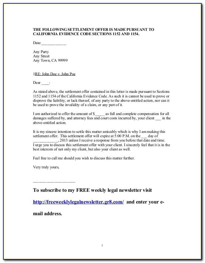 Debt Settlement Offer Letter Template