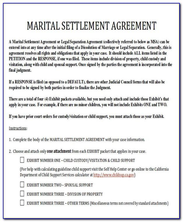 Divorce Settlement Agreement Letter Sample