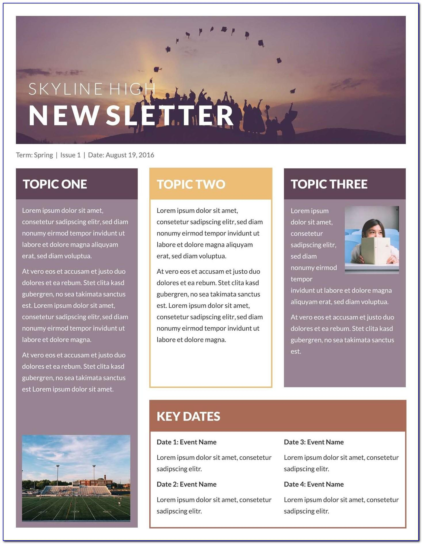 Elementary Newsletter Templates Word