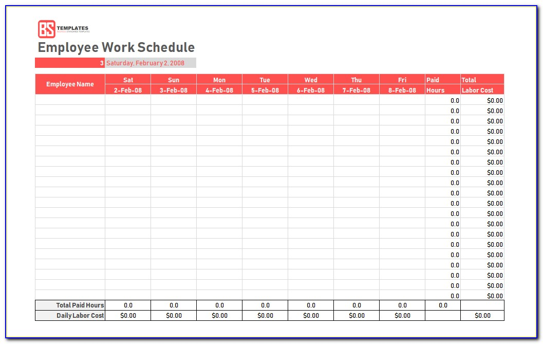 Employee Schedule Template Excel Weekly