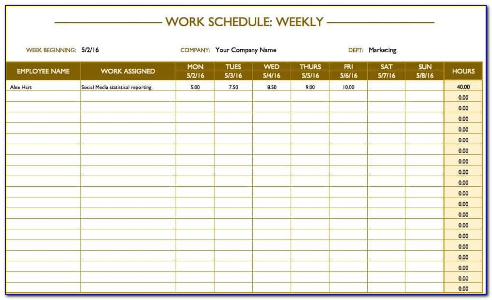 Employee Schedule Template Weekly