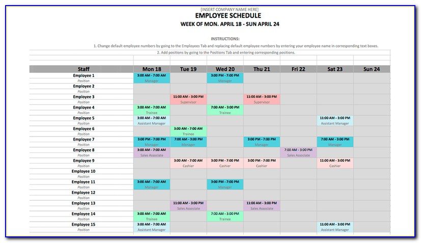 Employee Work Schedule Template Weekly