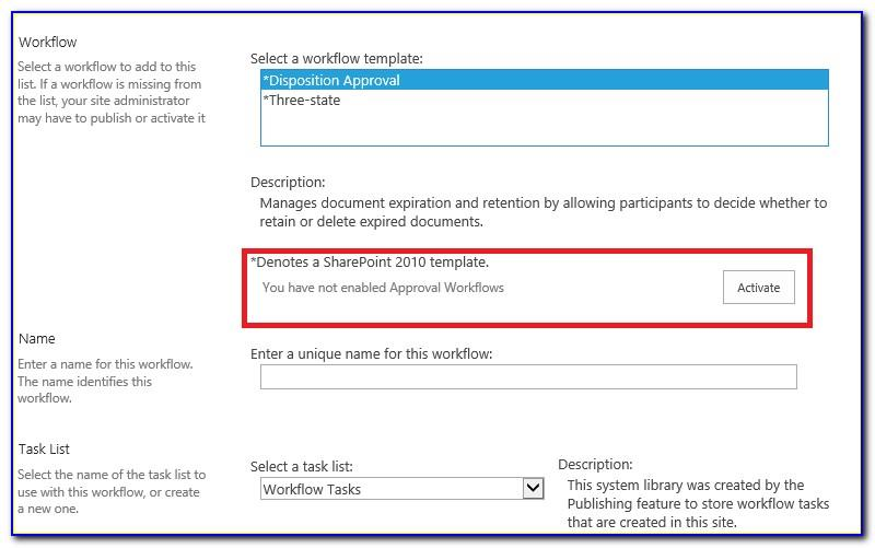 Enable Workflow Templates Sharepoint 2013