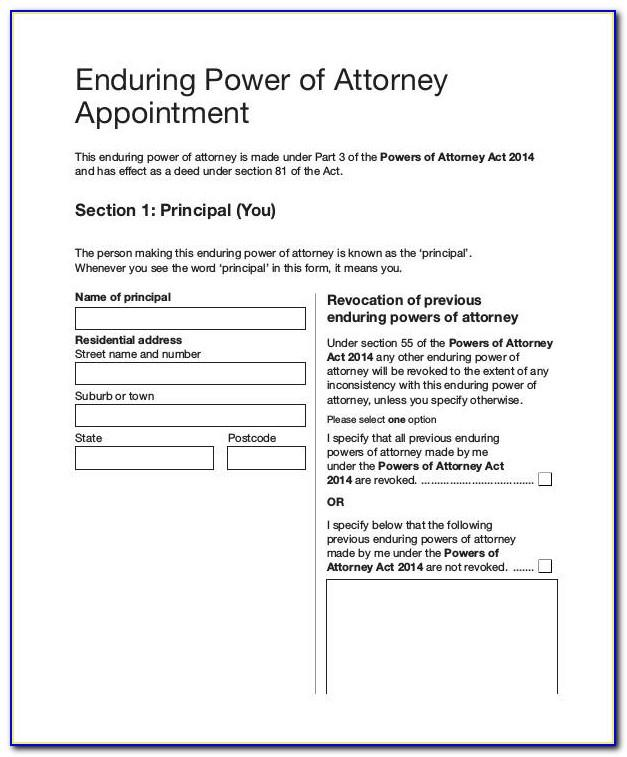 Enduring Power Of Attorney Form Free Download