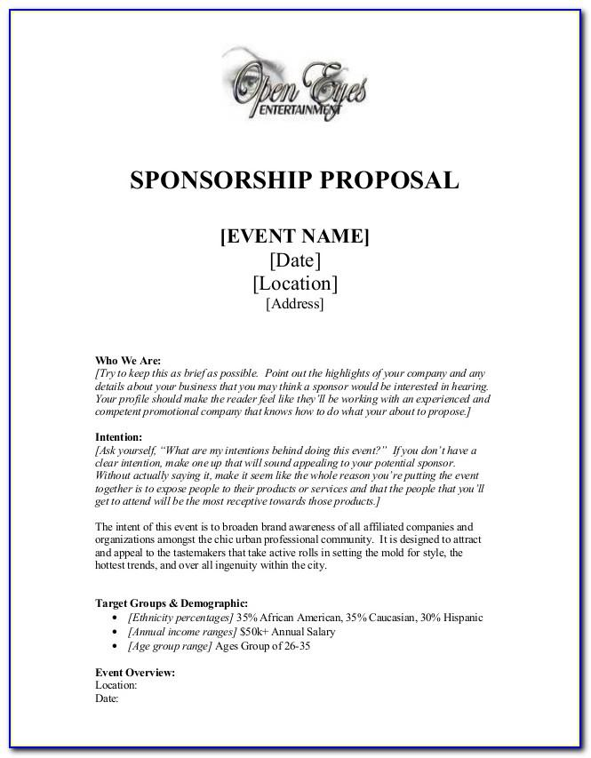 Event Sponsorship Proposal Template Free Ppt