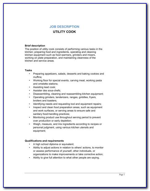 Executive Sous Chef Job Description Sample