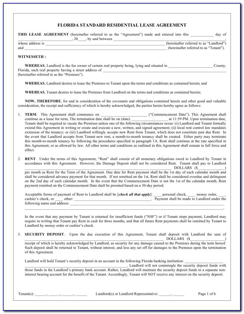 Florida Standard Lease Agreement Form