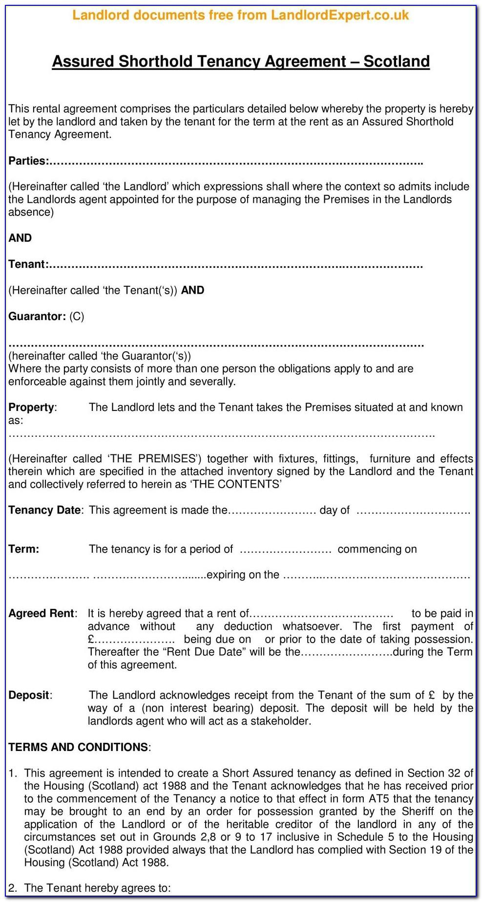 Free Assured Short Term Tenancy Agreement Template Scotland